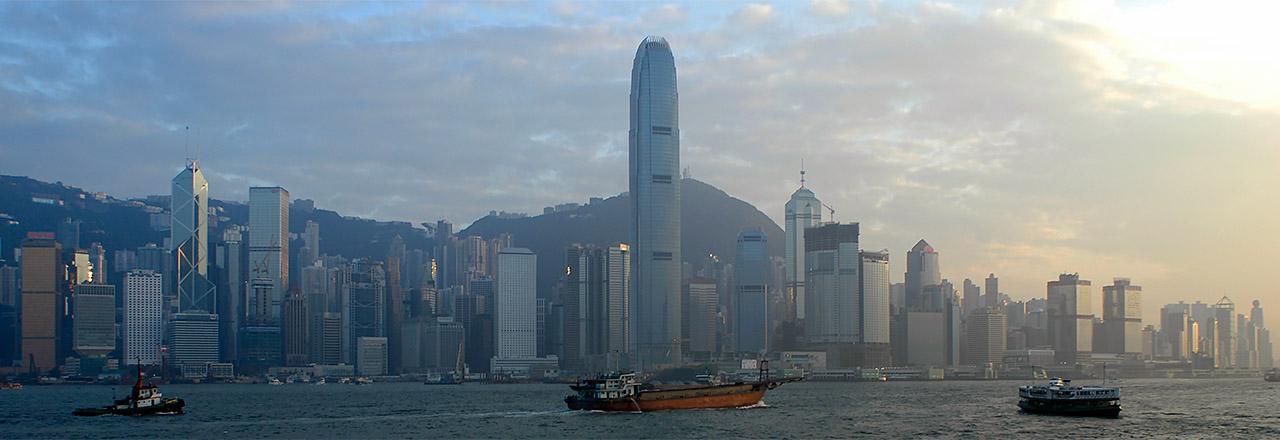 Hong Kong Island Skyline vid solnedgång