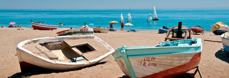 Sabinillas strand, Spanien