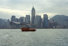 Victoria Harbour och Hong Kong Island skyline