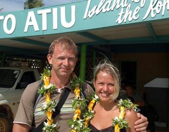 Lasse & Anki på Atiu flygplats