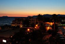 Kvällsvy från vårt hotell i Sperlonga