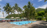 Under palmbladen på en vacker ö
