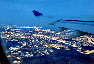 Flygvy när vi lämnar New York