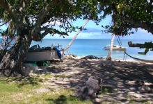 Strand vid Felemea på ön Uiha i Tonga