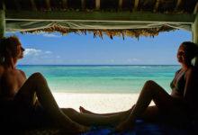 Utsikt från Fale över Lalomanu beach, Samoa
