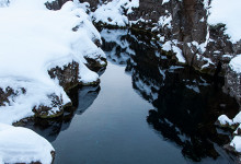 Ovanligt klart vatten vid Þingvellir nationalpark, Tingvalla Island
