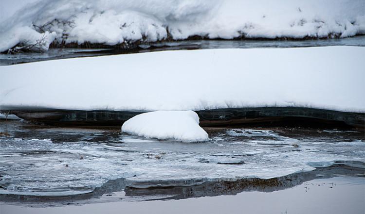 Is och snö vid ett Tingvalla vattendrag, Island