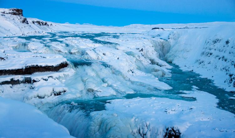 Gullfoss, stort vattenfall på Island