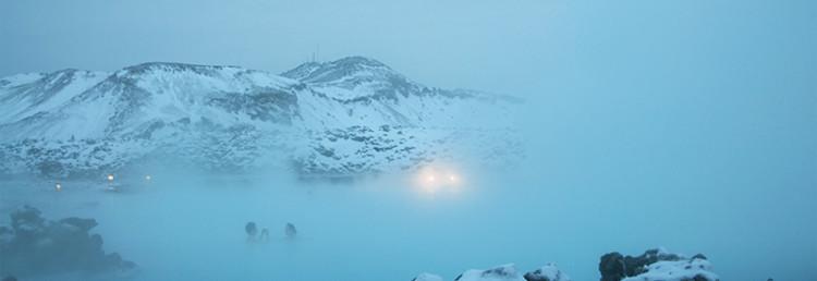 Islänskt landskap kring Blå Lagunen, Grindavík Island