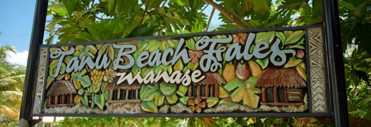 Skylt Tanu Beach Fales, Samoa
