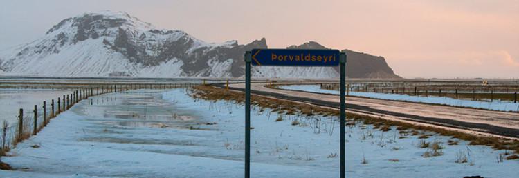 Väg längs Eyjafjallajökull vulkan Island