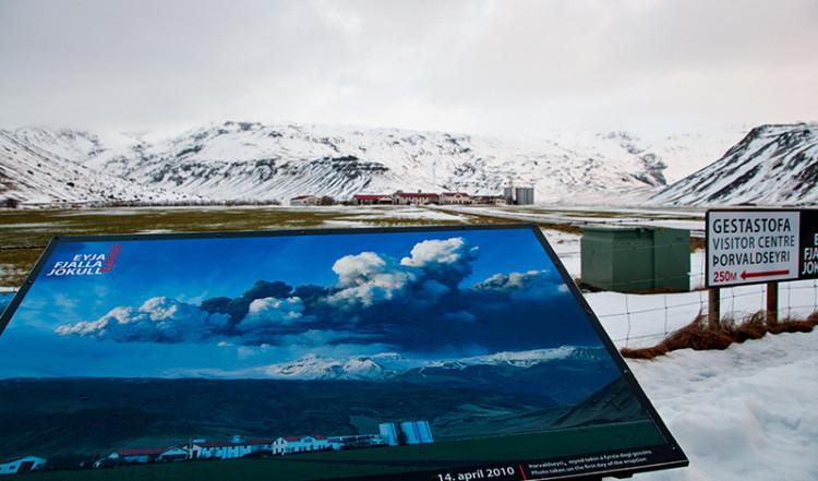 Foto från utbrottet framför Eyjafjallajökull vulkan Island