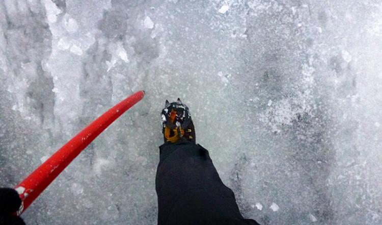 Is under fötterna på Sólheimajökull glaciär, Island