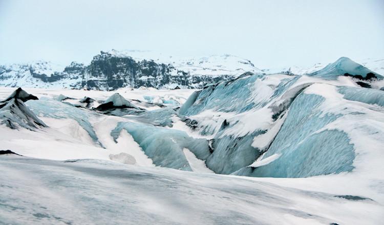 Vackra färger bland glaciären på Sólheimajökull, Island