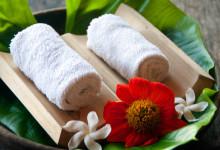 Handdukar på blad, Bambu Indah Ubud Bali