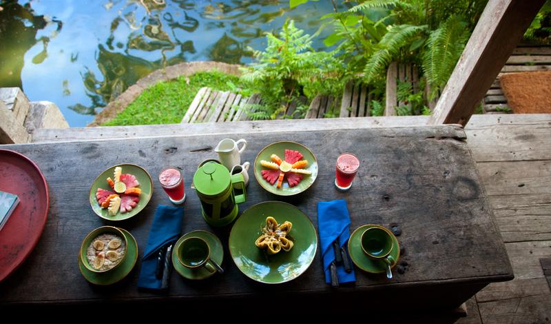 Frukost serverad i Padi House, Bambu Indah Ubud
