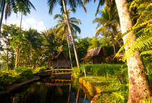 Sen eftermiddags sol över Bambu Indah, Ubud
