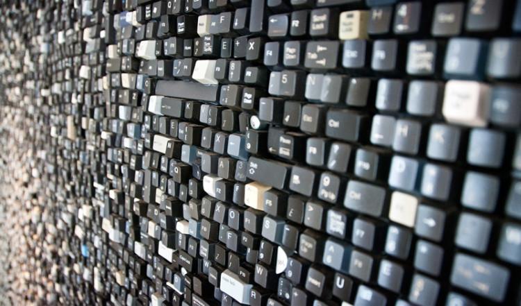 En hel vägg av tangentbords tangenter, The James Hotel in SoHo New York