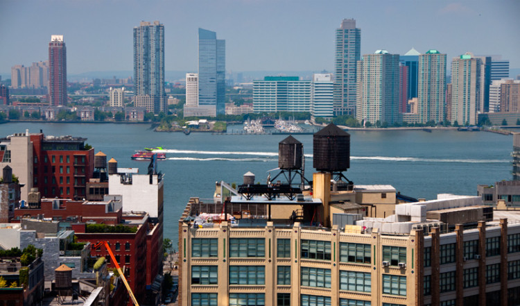 Utsikt över Hudson River, New York, från Soho