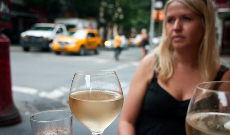 Vitt vin på Ciao, Greenwich Village New York