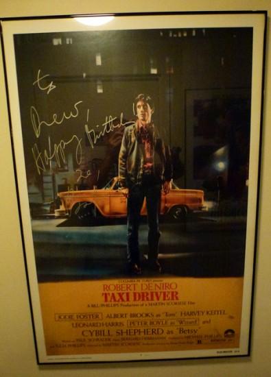 Taxidriver affisch signerad av Robert DeNiro på Tribeca Grill, New York City