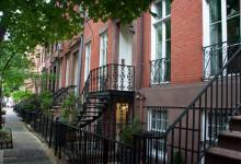Typisk bostadsgata i West Village, New York City