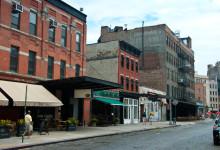 Gatuvy Gansevoort Street i Meatpackning, NYC