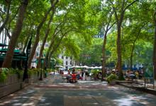 Under träden i Bryant Park, New York