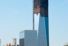 Freedom Tower utsikt från norr i nedre Manhattan, New York
