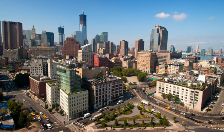 Utsikt från södra SoHo över TriBeCa och södra Manhattan, NYC