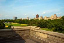 Utsikt över Great Lawn i Central Park från Belvedere Castle, New York