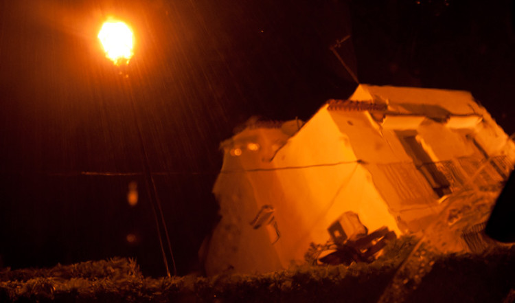 Regn i Monte Vinas från bilen