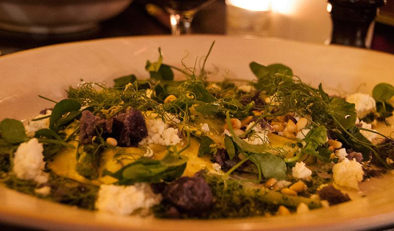 Ravioli med vårärtor och mint, Jamie Olivers Italian i Edinburgh