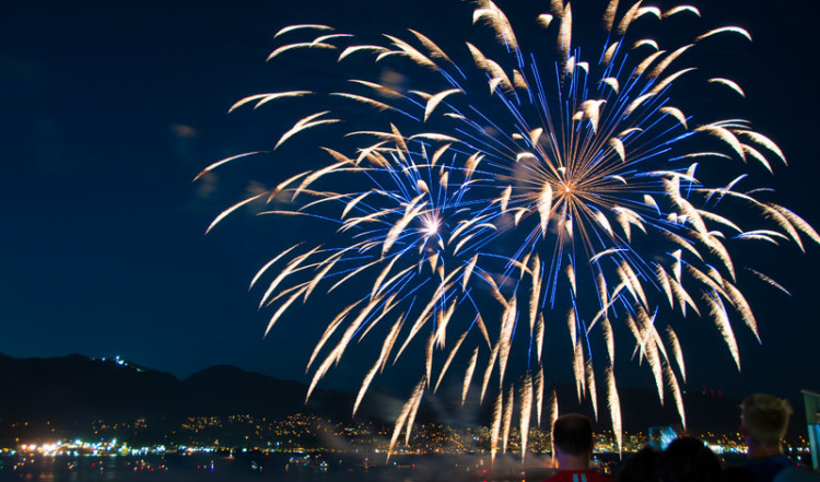 Canada Day fyrverkeri i Vancouver BC