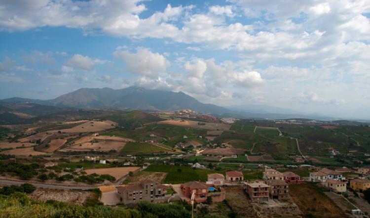 Utsikt över dalen från Monte Vinas, Spanien