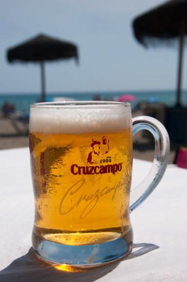 Cruzcampo, Spansk öl på Chiringuito i Sabinillas