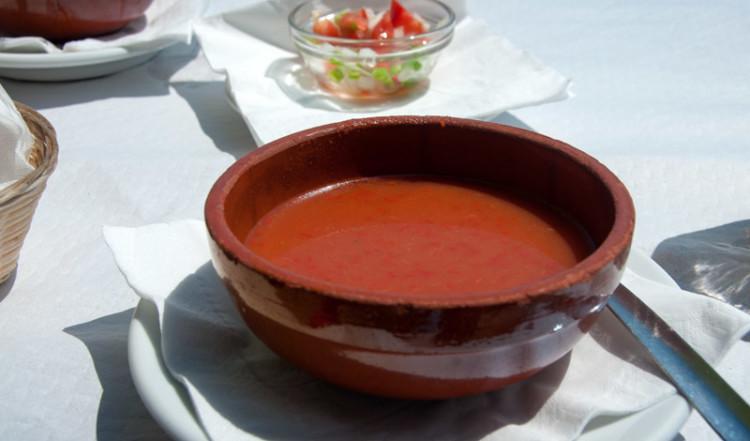 Gaspacho på Chiringuito i Sabinillas Spanien
