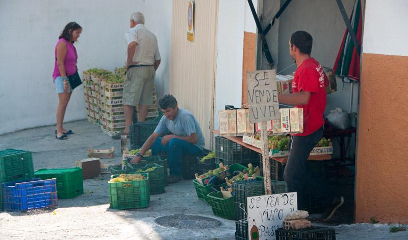 Försäljning av vindruvor och Manilva vin i ett garage