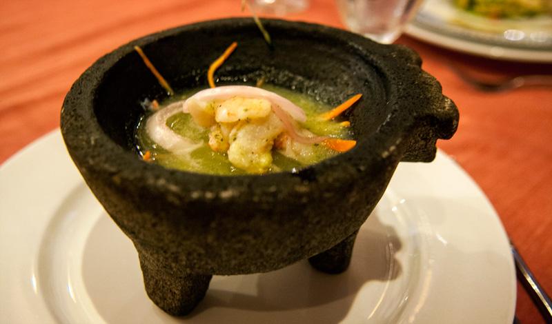 Entrérätt på Adonis Mexikanska restaurang, Tulum