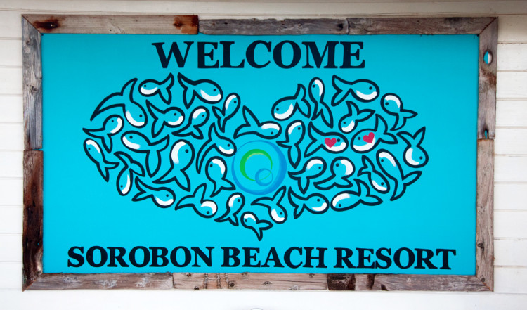 Välkommen skylt till Sorobon Beach, Bonaire