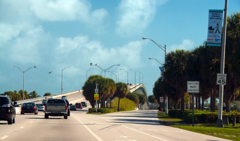 På väg till Key Biscayne, Miami