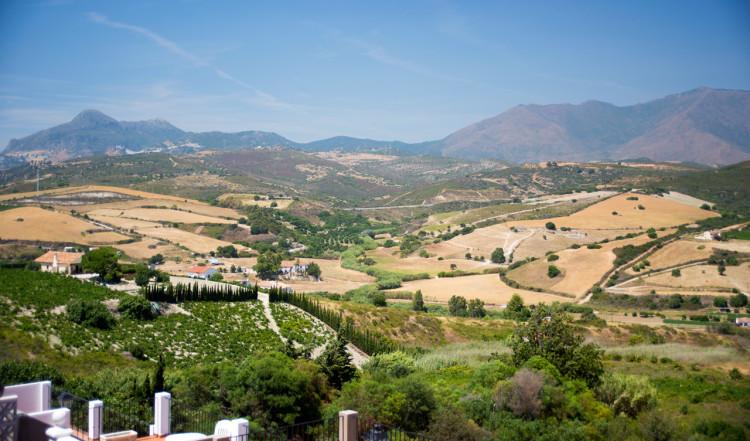 Utsikt över landskapen i Manilva, sett från Monte Viñas