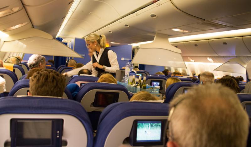 Ombord på KLM flight till Sydafrika
