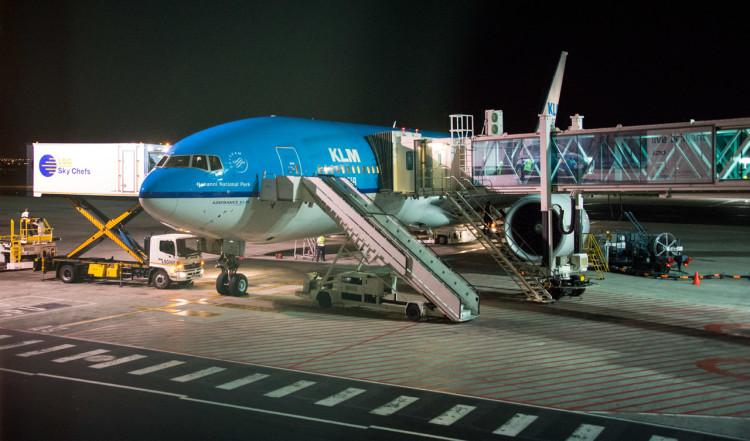 Vårt KLM plan framme i Kapstaden