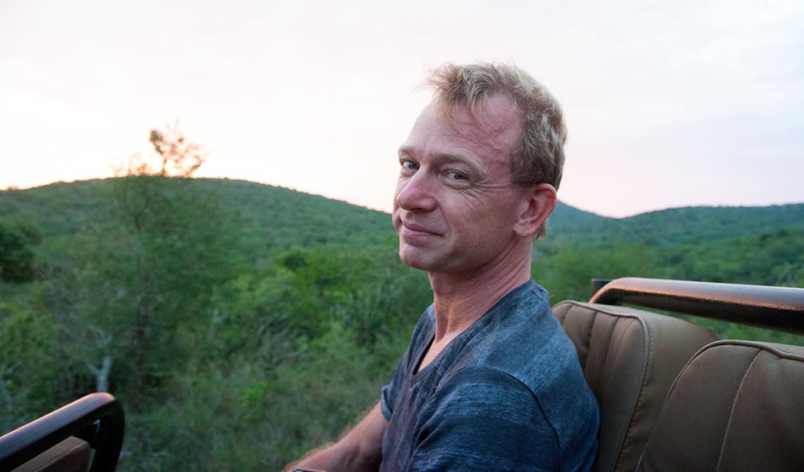 Lars på kvällsturen på Thanda Private Game Reserve