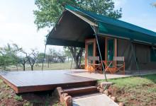 Vårt tält kommande dagar på Mavela Game Lodge