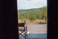 Utsikt inifrån vårt tält, Mavela Game Lodge