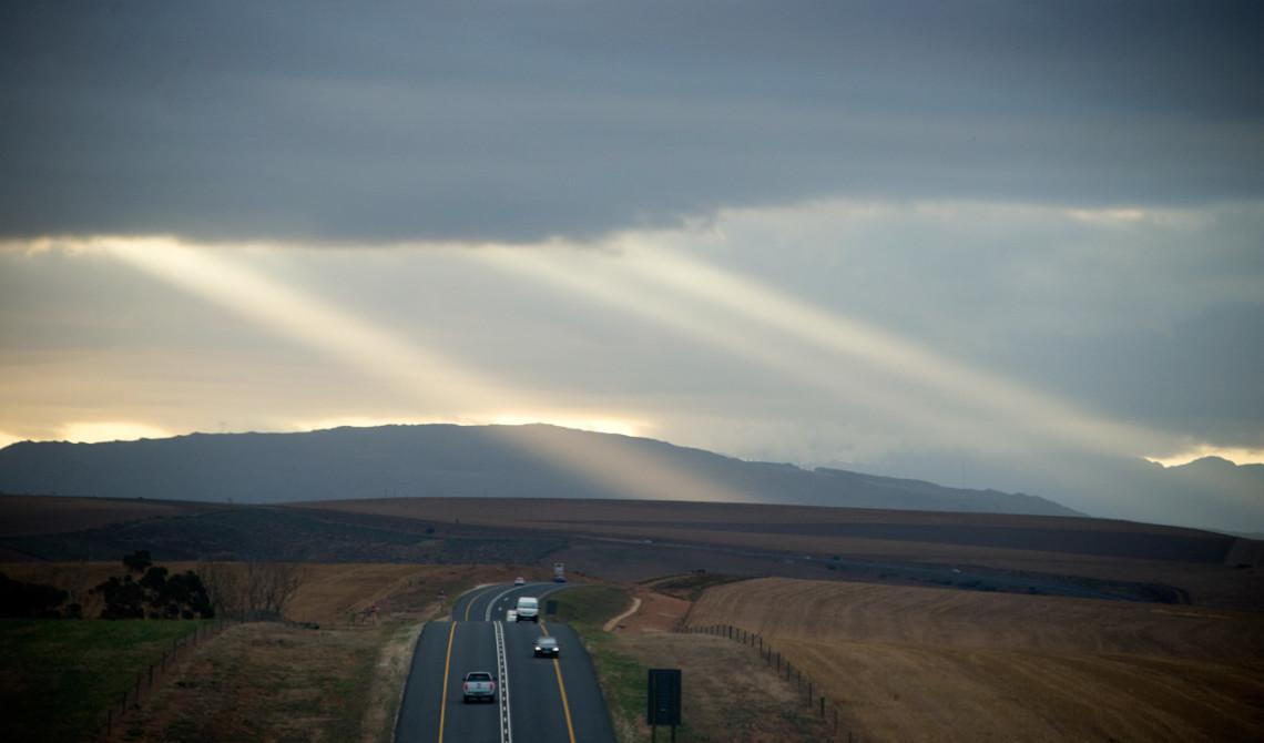 Solnedgång och tjocka moln, Garden Route, Sydafrika