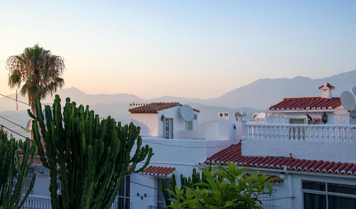 Monte Viñas och solen är på väg att gå ner