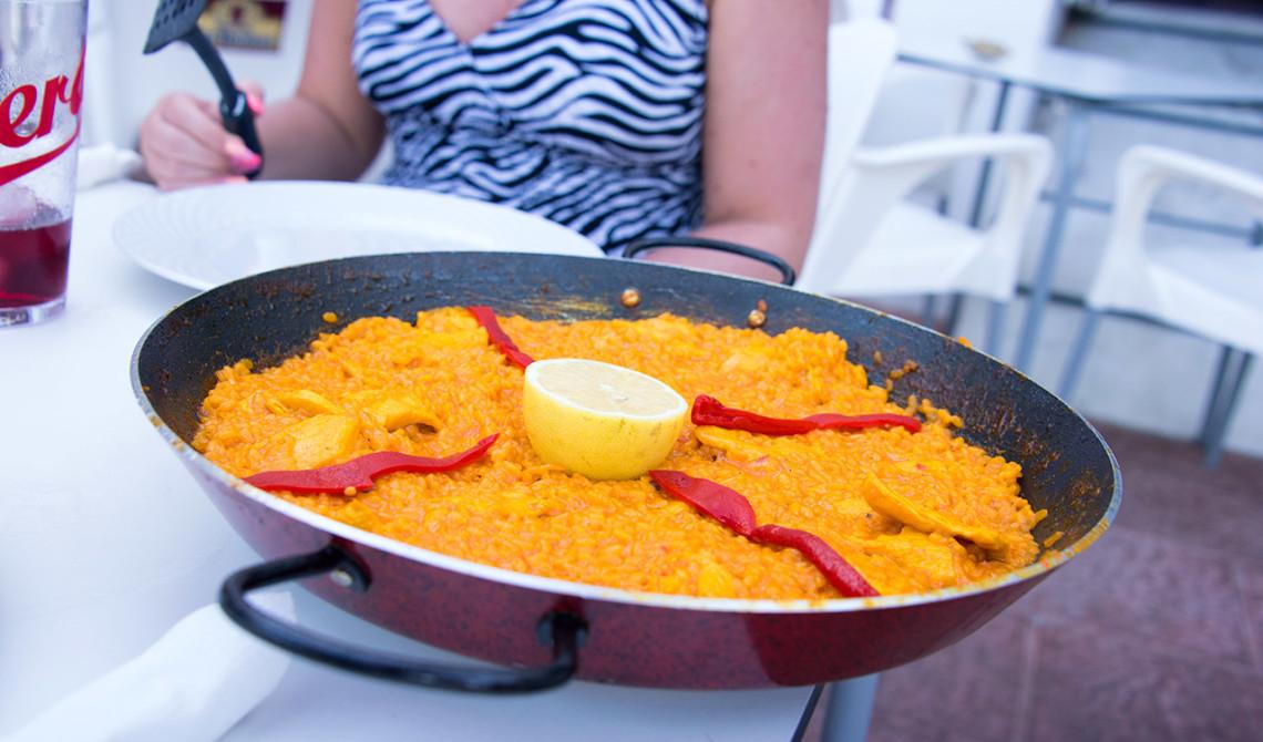 Paella med kyckling på Los Ibericos, Sabinillas